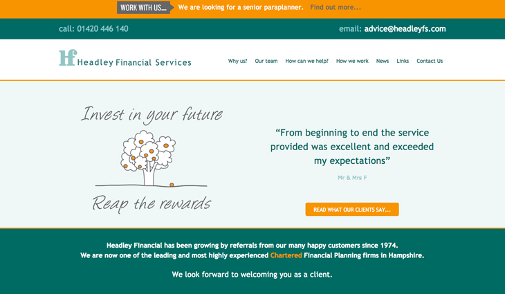 Headley Financial Services Website Hot Sand Design